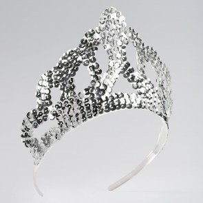 Silver Sequinned Tiara Large
