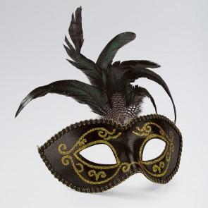 Maschera Oro e Nero con Glitter, Pietra Preziosa e Piume