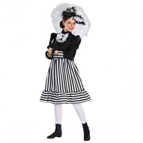 Edwardian Girl Black & White Stripe Dress