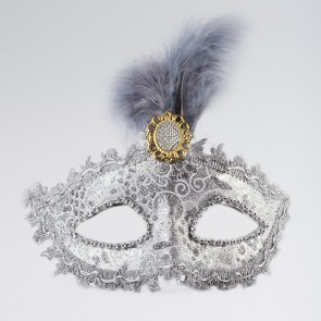 Silver Mask With Tall Feather & Stone