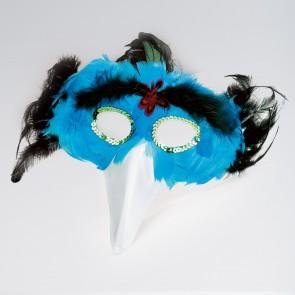 Máscara de pájaro con plumas turquesas/negras