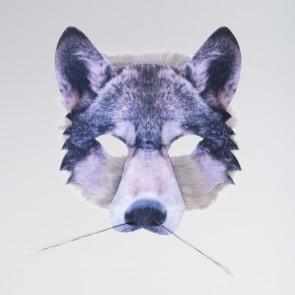 Digital bedruckte Wolfmaske mit Fell