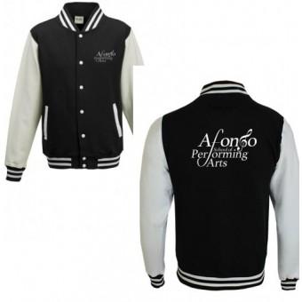 Unisex Varsity Jacket (Black/White) with Afonso School of Performing Arts Logo