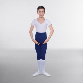 1st Position Male Short Sleeve Scoop Neck Leotard (White)