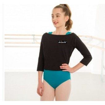 1st Position Boat Neck Warm Up Top with The Rose Arts London Logo