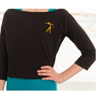 1st Position Boat Neck Warm Up Top with Robyn Academy Logo