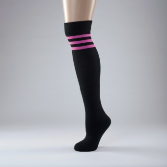 Hip Hop Socks Adult One Size Black/Pink Stripe