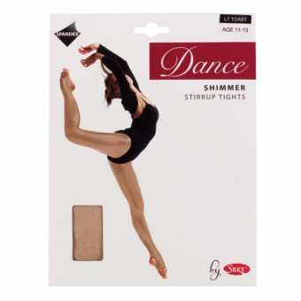 Silky Dance Shimmer Stirrup Tights (Light Toast)