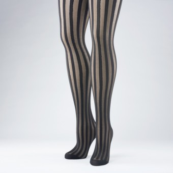 Black Vertical Stripe Tights - Adult One Size