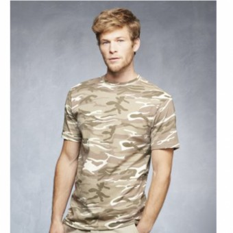 Mens Camo T-shirt Sand Size Small