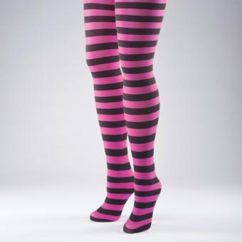 Striped Tights Fuchsia Pink