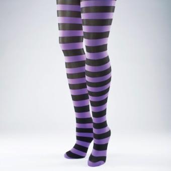 Neon Striped Tights (Black/Purple)