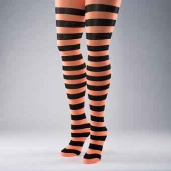 Neon Striped Tights (Orange/Black)