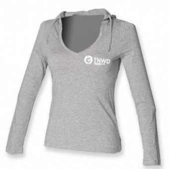 Long Sleeved Fineweight Hooded T-Shirt (grey) with TNWD Performing Arts Logo