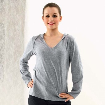 Long Sleeved Fineweight Hooded T-Shirt (Grey)