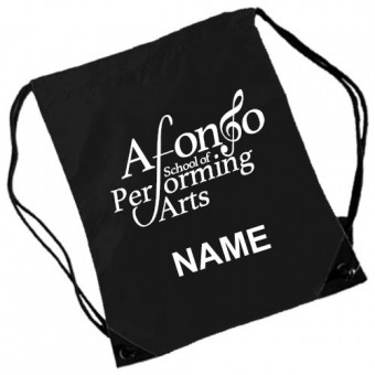 Gymsac Black Personalised with Individual Names and Afonso School of Performing arts Logo