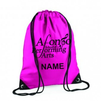 Gymsac Fuchsia Personalised with Individual Name underneath the Afonso School of Performing arts Logo.