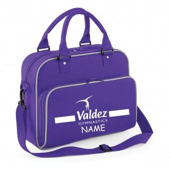 PP *#281125#* Junior Dance Bag Purple with Valdez Gymnastics Club Logo -WITH NAME