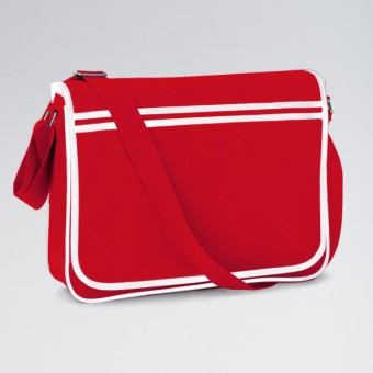 BagBase Retro Messenger Classic Red/White