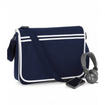 BagBase Retro Messenger French Navy/White