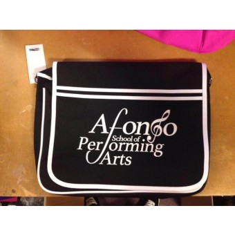 PP*#14#* BagBase Retro Messenger Black/White with Afonso School of Performing Arts Logo