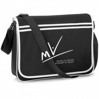 BagBase Retro Messenger Black/White with Michelle Venter Academy of Dance Logo