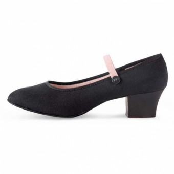 Bloch Tempo Cuban Heel Canvas Character Shoe Black