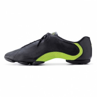 Bloch Amalgam Leather Jazz Sneakers Black/Green Size EU 35 UK 2