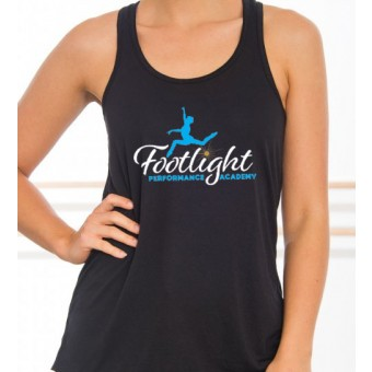 Bella Flowy Racer Back Tank Top (Black) with Footlight Performance Academy Logo