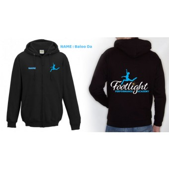 Ladies Fitted Hoodie (Black) with Footlight Performance Academy Logo