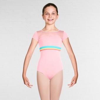 Bloch Isa Gelato Stripe Sweetheart Neckline Cap Sleeve Leotard (Candy Pink)