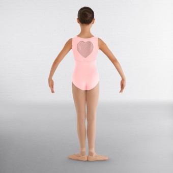 Bloch Miame Heart Mesh Tank Leotard With Heart Cutout back (Candy Pink)