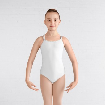 Bloch Bow Mesh Double Cross Back Cami Leotard White 4-6years