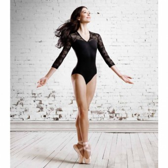 Bloch Kate ¾ Sleeve V Neck Lace Leotard