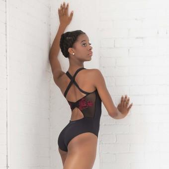 Ballet Rosa Anette - Besticktes Trikot mit überkreuzten Trägern auf dem Rücken (Black/Red)