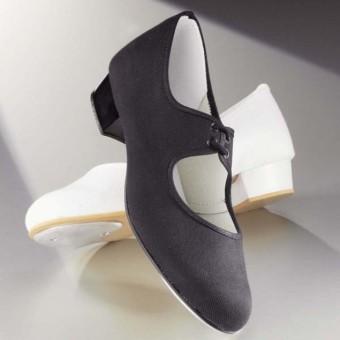 1st Position - Zapatos de Claqué de Tacón Bajo de Tela (Black)