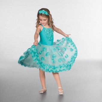 1st Position Glitter Skirted Flower Ballet Dress