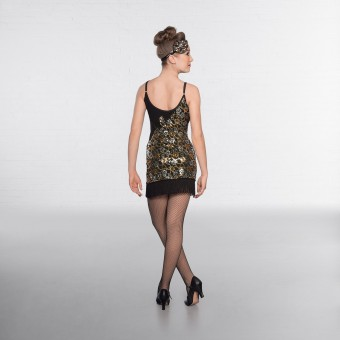 1st Position Gold and Silver Flower Sequin Glitz Dress