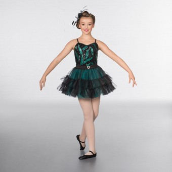 1st Position Sequin Feather Bodice Ruffle Skirted Glitz