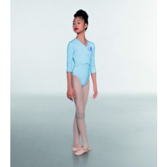 1st Position Cotton/Poly X Over Cardigan 3/4 length sleeves (Sky Blue) with Cirencestor Creative Dance Academy  Logo