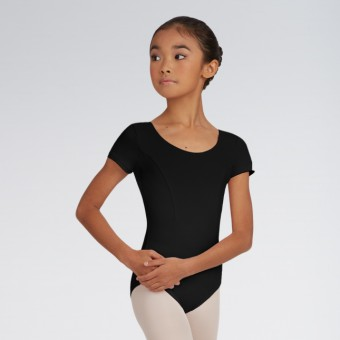 Capezio Princess Seam Short-Sleeve Leotard (Black)