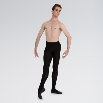 Capezio Men's Knit Footed Tights With Back Seams Black  Small