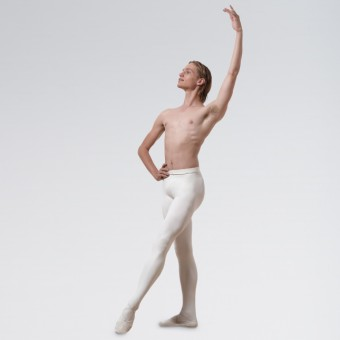 Capezio Men's Knit Footed Tights With Back Seams Dyable White  Medium