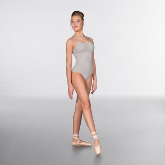 1st Position Lattice back and Mesh Bust Fashion Leotard Grey