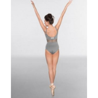 1st Position Mesh insert Cami Strap Fashion Leotard Grey with TNWD Logo