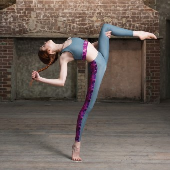 1st Position Watergate Legging With Contrast Side Panel (Grey)