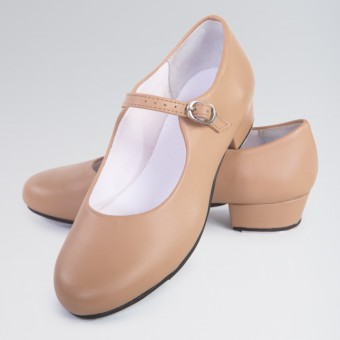 1st Position Buckle Strap Leather Upper Tap Shoe (Tan)