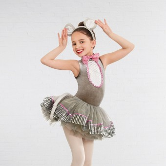 1st Position High Neck Tutu with bow (Grey/Pink)