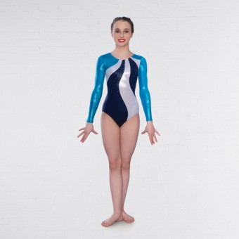 1st Position Megan Diamante Long Sleeved Leotard (Turquoise/Navy)