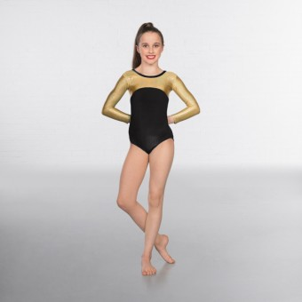 1st Position Alexa Velour Hologram Long sleeved Leotard (Black/Gold)